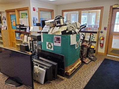 Picture of e-waste collection point in the library